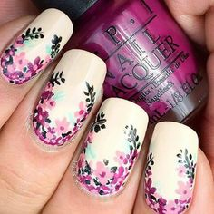 Pinky n thumb purple middle n ring finger black pointer finger white with purple n light purple n pink flowers with black leaves!! #cute