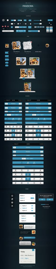 Slick looking UI design called Pandora (2048×9744)