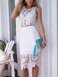White Crochet Lace Sleeveless Crop Top With High Waist Midi Pencil Skirt | Choies