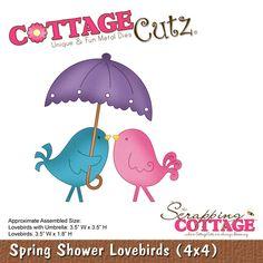 CottageCutz Spring Shower Lovebirds (4x4)