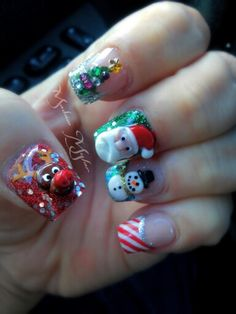 3D acrylic Christmas nail art - Santa Rudolph snowman candy cane Christmas tree nails