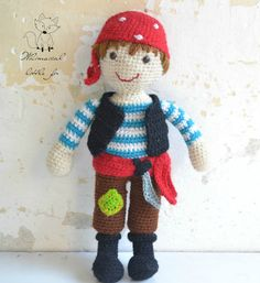 Crochet pattern, crochet pirate pattern, pirate amigurumi, crochet boy pattern…