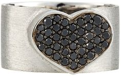 Nanis 18k Black Diamond Heart Ring, Size 8 | jewelry #proshopaholic