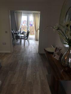 Grey laminate moduleo wood effect living dining open plan