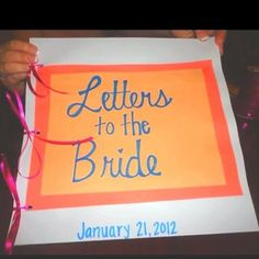 The maid of honor could put this together. Have the mother of the bride, mother in law, bridesmaids, and friends of the bride write letters to the bride, then put them in a book so she can read them while getting ready the day of. The last page can be a letter from the groom. love this idea