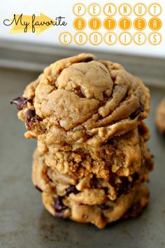 My Favorite Puffy, Chewy Peanut Butter Chocolate Chip Cookie from wallflourgirl.com look amazing!