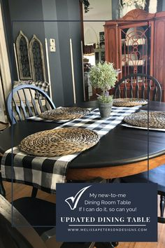 My new-to-me Farmhouse Table - Farmhouse Dining Room Table, Dining Set, Dining Table, Black Table, Leaf Table, Kitchen Inspiration, Built Ins, House Colors, Table Settings