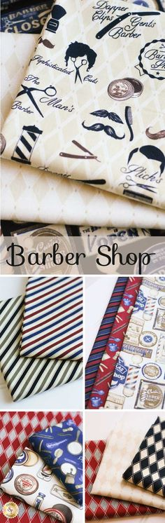 Barber Shop - Benartex Fabrics The Barber Shop fabric collection features muted beiges, burgundies, and blues in a variety of patterns and designs. A masculine collection from Bristol Bay Studios, this fabric is well suited to a quilt for a boy's room or for an understated living room throw.