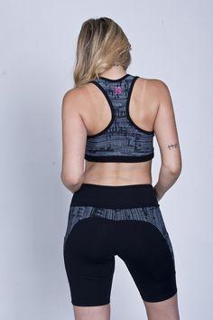 ART 308 Calza Ciclista con bolsillos y recorte - Negra Lisa / Recortes estampado