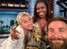 Quand Michelle Obama a fait un selfie avec Ellen de Generes et Bradley Cooper