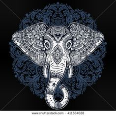 Vintage mandala vector elephant with tribal ornaments. Ideal ethnic background, tattoo art, yoga, African, Indian, Thai, spirituality, boho design. Use for print, posters, t-shirts, textiles.