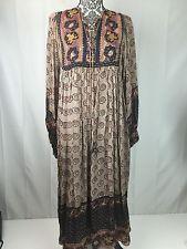 Vintage Phool Indian Silk Hand Block Print Sheer BOHO Festival Dress Small Hippy