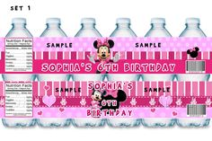 Minnie Mouse Water Bottle Labels, Minnie Mouse Party Favors, Minnie Mouse Birthday, Minnie Mouse Supplies, Minnie Mouse Printables. $4.99, via Etsy.