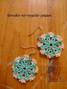 oya crochet beads motif earring