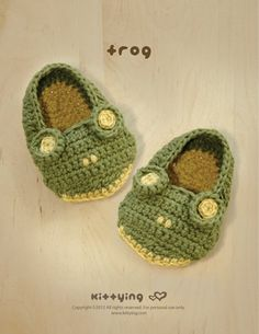 Frog Baby Booties Crochet Pattern pdf by Kittying.com