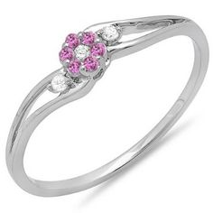 Share for $20 off your purchase of $100 or more! 0.10 Carat (ctw) 14k White Gold Round White Diamond & Pink Sapphire Ladies Bridal Swirl Split Shank Cluster Promise Ring 1/10 CT - Dazzling Rock #https://www.pinterest.com/dazzlingrock/