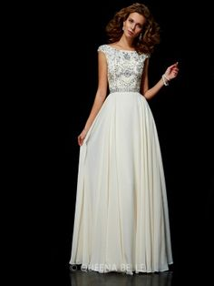 Ball Gown Chiffon High Neck Short Sleeves Beading Floor-Length Dresses - Prom Dresses - Occasion Dresses - QueenaBelle.com