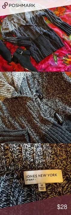 Jones New York cardigan size M Light grey, grey and black cardigan. Two button closure and sleeve 3/4s. No damage. Jones New York Sweaters Cardigans