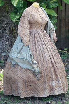 Ensemble: Cotton work dress and coordinating shawl c.1862