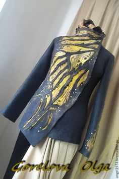 """Купить валяный жакет """"Нимфалиды"""" - черный, пиджак женский, пиджак из шерсти, пиджак валяный"""