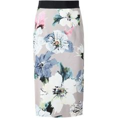 Milly floral print pencil skirt (595 AUD) ❤ liked on Polyvore featuring skirts, beige, patterned skirts, floral knee length skirt, beige skirt, knee length pencil skirt and milly skirt