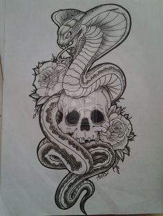 Skull with Snake Tattoo Designs - Tattoo MAG Snake Sketch, Snake Drawing, Stencils Tatuagem, Tattoo Stencils, Manu Tattoo, Skull Tattoos, Sleeve Tattoos, Body Tattoos, Tattoo Sketches