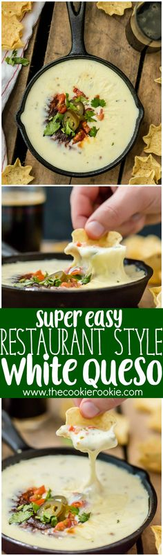 Easy Restaurant Style WHITE QUESO is our FAVORITE DIP RECIPE EVER. Tastes just like queso dip at Mexican restaurants! I have been waiting my entire life for this cheese dip recipe! Read More by thetaylorhouse Queso Recipe Easy, White Queso Dip Recipe, Recipe Recipe, Recipe Ideas, Sopes Recipe, Fideo Recipe, Cheese Dip Recipes, Appetizer Recipes, Appetizers
