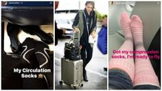 Travel in style like Jessica Alba and Sarah Michelle Gellar in these cute compression socks! Check out our blog to get the look! #jessicaalba #compressionsocks #travelsocks #fashion #sarahmichellegellar #sigvaris #fashionblog #travelblog #healthblog #travelguide