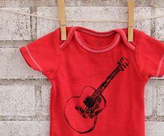 Acoustic Guitar Onesie, BABY BODYSUIT, dyed poppy red or custom colors.. 0-3, 3-6, 6-9 months. $14.00, via Etsy.