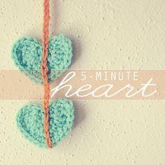 5-minute crochet heart pattern
