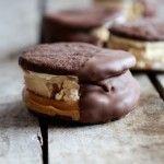 Chocolate Dipped Homemade Peanut Butter Oreo Mocha Ice Cream Sandwiches
