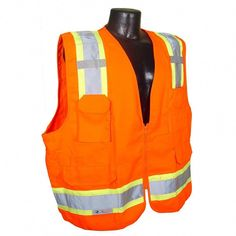 49fbf1b7bc8d7 CL 2 Two-Tone Surveyor Orange Twill 3X Safety Vest, Size: 3XL,
