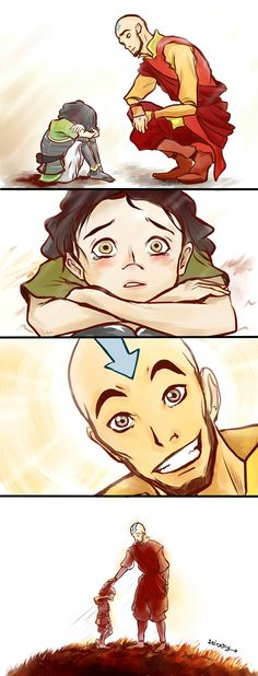 -Aww! Lin! Did Tenzin push you down and say girls were icky? Such a boy! Don't worry Uncle Aang will straighten him out!