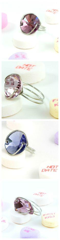 Amazing Jewelry for Valentine's Gifts. Beautiful Swarovski Crystal Rings! www.trinketsnwhatnots.etsy.com
