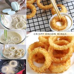 how-to-make-crispy-onion-rings-recipe KETO, substitute almond flour and almond milk in the recipe. Onion Recipes, My Recipes, Cooking Recipes, Favorite Recipes, Cooking Videos, Homemade Onion Rings, Baked Onion Rings, Onion Rings Recipe Panko, Diy Onion Rings