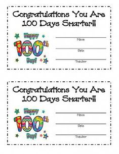 Day of School Award - Grundschule 100 Days Of School, School Holidays, School Fun, 100th Day Of School Crafts, 100s Day, 100 Day Celebration, Die 100, Classroom Fun, Groundhog Day
