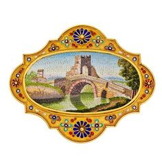 This splendid Italian landscape brooch, attributed to Vatican craftsmen, was created though the use of miniature multi-colored glass tiles. The resulting brooch, framed in 18K yellow gold and appliquéd with enameled flowers, is a true piece of wearable art. c.1830-1850