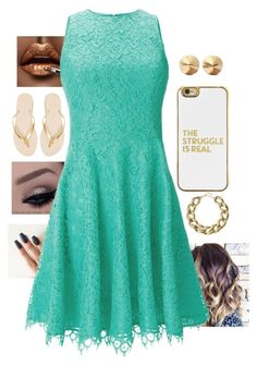 """""""Gold and Aqua"""" by lrochelle4life on Polyvore featuring Shoshanna, BaubleBar, Kenneth Jay Lane, Eddie Borgo and Havaianas"""