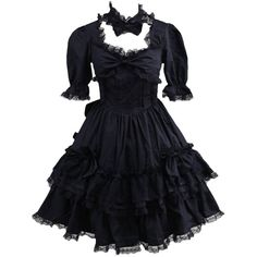 Partiss Womens Black Short Sleeves Lace Bow Gothic Lolita Dress ($70) ❤ liked on Polyvore featuring dresses, short sleeve dress, lacy dress, gothic lace dress, goth dresses and bow dress