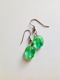 Pretty opaque green beaded earrings by LavenderMoonJewels on Etsy