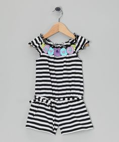 Mulberribush Black & White Stripe Flower Belted Romper - Toddler & Girls by Mulberribush #zulily #zulilyfinds