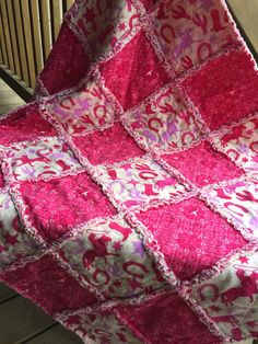 Baby Rag Quilt In Dark Pink and Ivory in a by CrossGcreations