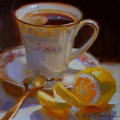 "Daily Paintworks - ""Lemon Coffee"" - Original Fine Art for Sale - © Elena Katsyura"