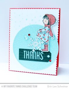 Sweet Wintry Thanks Card by Erin Lee Schreiner featuring the Birdie Brown Warmest Wishes stamp set and Die-namics and the Tag Talk and Let it Snowflake Die-namics #mftstamps