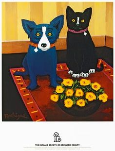 In 1997 George painted a cat with the Blue Dog for a poster called Friendship, benefiting the Broward County Humane Society.