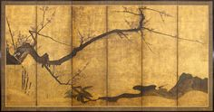 A six-fold paper screen painted in ink and colour on a gold ground with ume (plum), a broken bamboo fence and a seguro-sekirei (wagtail) in a rocky river landscape. Unknown (17th century Edo period)