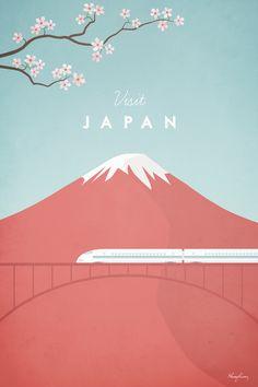 Japan als Premium Poster von Henry Rivers City Poster, Poster Art, Retro Poster, Kunst Poster, Typography Poster, Poster Series, Travel Illustration, Graphic Design Illustration, Japan Illustration
