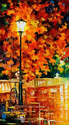 Van Eyck Street Lamp Colorful Landscape Palette Knife Oil Painting Prints on Canvas Abstract Wall Art Picture for Home Decorations