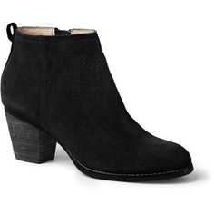 Lands' End Women's Harris Ankle Boots (€34) ❤ liked on Polyvore featuring shoes, boots, ankle booties, black, black suede booties, black booties, black ankle booties, black bootie and suede bootie
