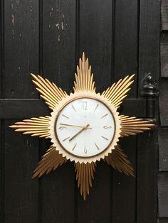 Vintage 1960 s Metamec Sunburst Clock / Starburst Wall Clock